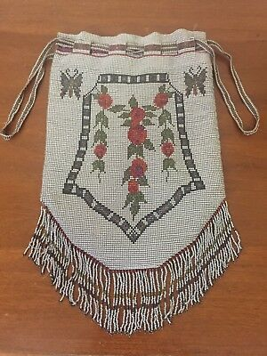 Beautiful Antique Micro Bead Beaded Purse Bag Large Drawstring Flowers Butterfly