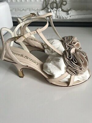 907289dcd924 Designer Giuseppe Zanotti Vicini For Russell   Bromley Nude Leather Wedge  Heels