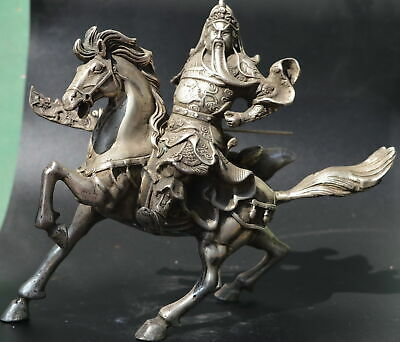 AAA Decor Collect Tibet Silver Carve China General Guan Yu Ride Horse Big Statue