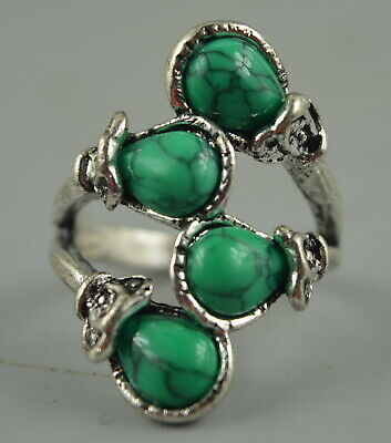 AAA Decorate Chinese Tibet Silver Carve Flower Inlay Turquoise Noble Ring Gift