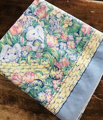 Vintage EASTER BUNNIES and Eggs Tablecloth Flowers Butterflies