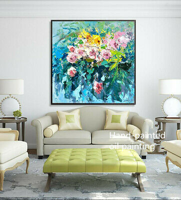 YA536 CANVAS 100% Hand-painted oil painting Abstract Flower Rose Unframed