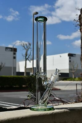 7MM THICK Heavy Wall Tall 18 Inch Glass Bong Water Pipe Straight Color Foot Lip