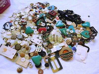 Collection of Vintage  Buttons Buckles Mother of Pearl etc unsorted