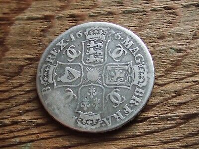 Charles Ii.  1676,  Halfcrown.  (Clear Edge Lettering)   Nice Condition
