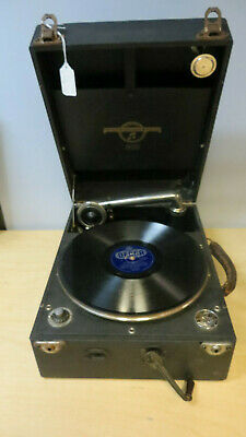 Vintage Columbia portable wind up gramophone in black rexine case.