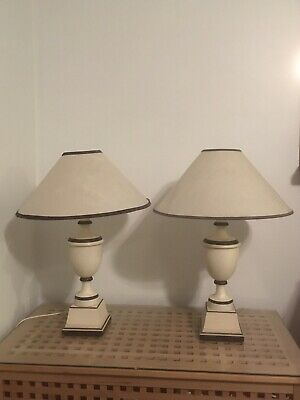 Hydro Majestic- Pair Of Vintage Art Deco Lamps with Parchment Lampshades