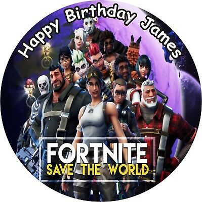 "Fortnite Save The World Round 7.5"" Cake Topper Icing Or Ricepaper"
