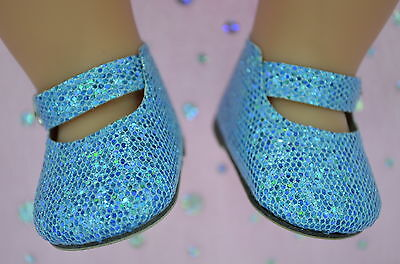 """Dolls Shoes For 17""""Baby Born~18""""American Girl  BLUE SPARKLE MARY JANE SHOES"""