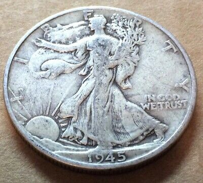 1945 D Walking Liberty Half Dollar in Fair Condition, Not Cleaned