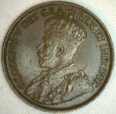 1918 Copper Canadian Large Cent Coin 1-Cent Canada AU Almost Uncirculated K4