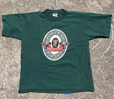 VTG 90's Single Stitch Foster's Beer Tee Shirt Size Mens Large Green
