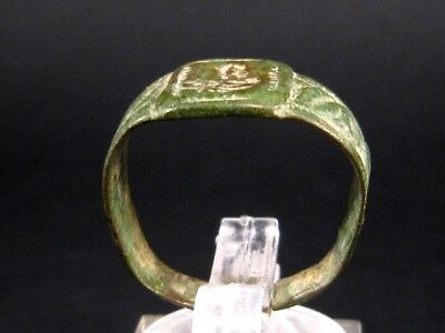 Very Rare Roman Intaglio Seal Bronze Ring, Roman Eagle Image+++
