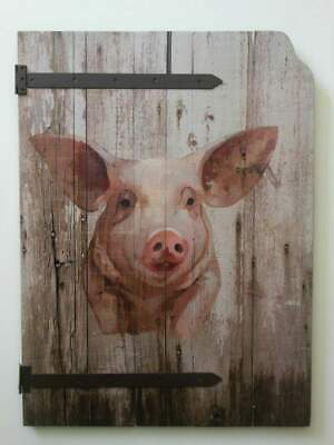 "Farmhouse Barnyard Pig Wood Barn Door Style Hand Painted Wall Decor 26"" x 19"""