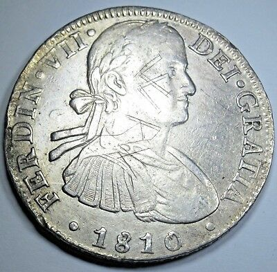 1810 Spanish Silver 8 Reales Eight Real Colonial Era Dollar Pirate Treasure Coin