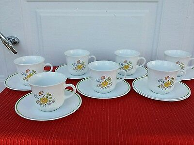 "Correll "" Meadow "" COFFEE CUP & SAUCER SET (1 Lot of 7)"