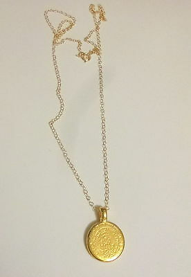Solid  twenty Inch 14 K Gold Chain with Phaistos Disc Pendant Necklace @@@@