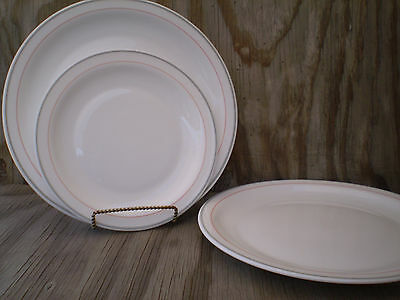 Arcoroc Milk Dishes Add To Your Set 2 Large 1 Medium Plates Grey & Pink Bands