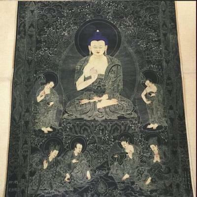 Antique-Chinese-Tibetan-Bhuddist-Thangka-Painting-By-Ding-Guanpeng
