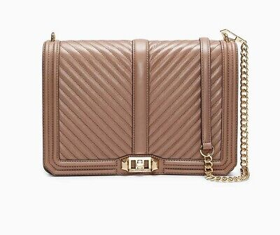 80eae11bf NWT Rebecca Minkoff CHEVRON Jumbo Love Quilted Leather Large Shoulder Bag  MINK