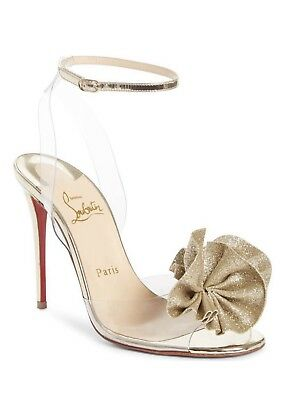 fcc6affec10 NEW SZ 5 / 35 Christian Louboutin Fossiliza Gold Clear Ankle Strap ...