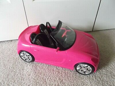 Barbie Zebra Glam Convertible Hot Pink Car Mattel Vehicle With Seat belts