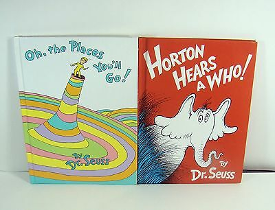 Dr Seuss Oh, The Places You'll Go! Horton Hears a Who! 2 Hardcover Books Rare