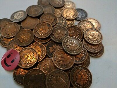 1800's and1900's 1c indian head pennies.  Lot of 50. No culls