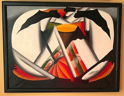 Vintage 1980s Mid-Century painting Abstract Expressionism artist signed