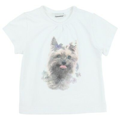 3POMMES Baby Girl white tshirt with dog (terrier) motif  2 years