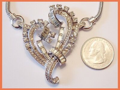 Deco 30s MAZER Clear Rhinestone & Rhodium HEART Choker Necklace~Jomaz~Retro Vtg