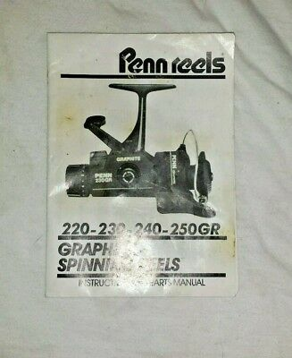 Penn 220GR 230GR 240GR FISHING REEL manual