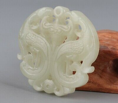 Chinese Exquisite Hand carved phoenix Carving Hetian jade Pendant