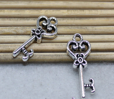 35pcs 9.3x20.8mm ancient silver exquisite magic key charm pendant