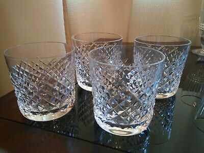 4 Vintage Waterford Alana Old Fashioned Tumbler Glasses  ~ Old Gothic Mark