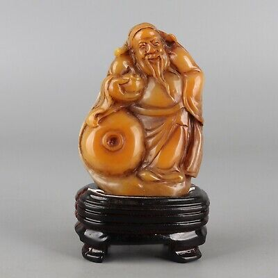 Chinese Exquisite Hand carved 'God of wealth' Carving Shoushan Stone seal