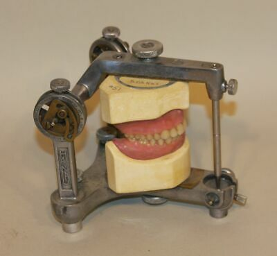 Vintage Hanau Buffalo NY Dental Articulator w/ Dentures Teeth Condylar Steampunk
