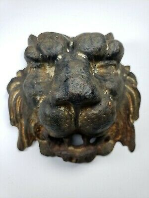 Antique Cast Iron Lion Head Figural Architectural Fountain Wall Mount