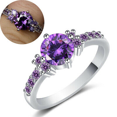 White Gold Filled Ring Purple Amethyst Gem Wedding Party Band Ring Gift Size 6-9