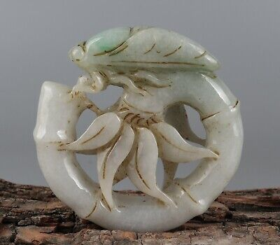 Chinese Exquisite Hand-carved bamboo cicada Carving jadeite jade Pendant