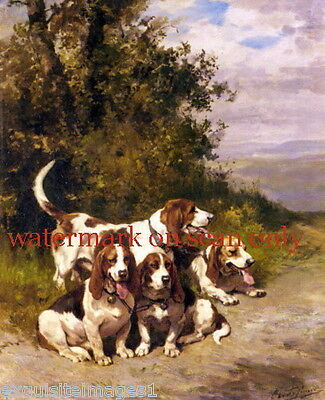 1870 Four Basset Hound Dog Dogs Hunting on a Forest Path~NEW Lge Note Cards
