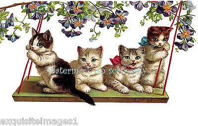 Antique Victorian Art~Cute Kittens on Swing w Flowers~NEW Large Note Cards