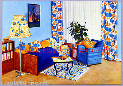 Old Art Deco~Colorful Daybed~Den~ NEW Large Note Cards