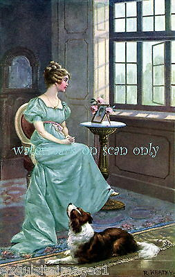 Antique Victorian Art~Collie Dog~Beautiful Woman~Blue Dress~NEW Large Note Cards