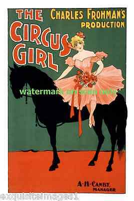 1897 Circus Poster~Bareback Girl in Pink on Black Horse ~NEW  Lge Note Cards