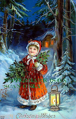 Vintage Image~Girl w Red Hooded Coat on Forest Path~Lantern~NEW Xmas Note Cards