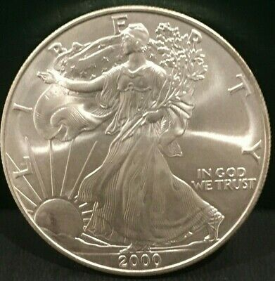 TWO (2) Silver American Eagle Coins BU 2000 and 2001 - great coins for the stack
