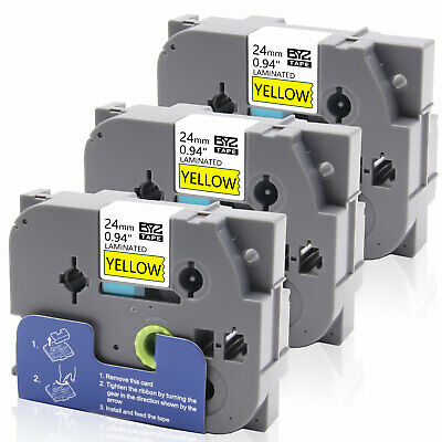 3PK TZe651 24mm Black on Yellow Label Tapes Compatible/ Brother P-Touch PT-D600