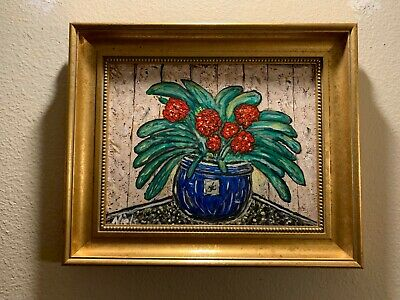 Beautiful Framed Original Acrylic Canvas Painting signed by Artist 2019