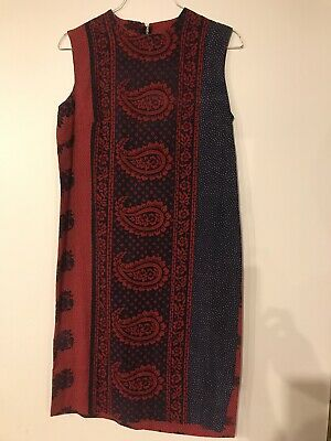 Vintage 1960's/70's Shift Dress Sleeveless Gray Rose Colorado Springs Paisley